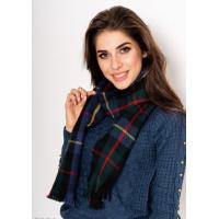 Черный шерстяной шарф с бахромой принтованный шотландской клеткой
