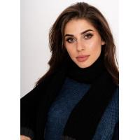 Черный теплый шерстяной шарф крупной вязки с серой окантовкой по краям