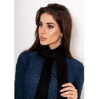 Черный шерстяной шарф с люрексом и бахромой