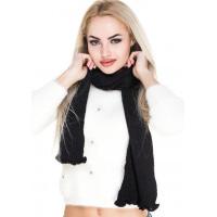 Узкий вязаный шарфик черного цвета с фигурным краем