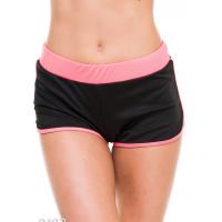 Черные спортивные шорты из эластика с розовой отделкой