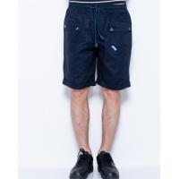 Темно-синие коттоновые шорты с накладными карманами