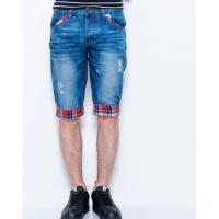 Синие джинсовые шорты с клетчатыми вставками