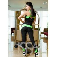 Черный с салатовым спортивный костюм из эластика с оригинальной маечкой