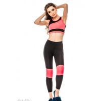 Черный с розовым спортивный костюм из топа и леггинсов