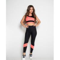 Черно-розовый спортивный костюм с топом