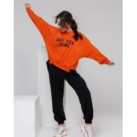 Черно-оранжевый свободный костюм из трикотажа