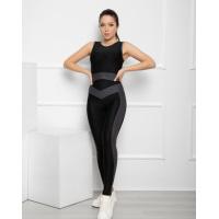 Черный фактурный костюм для фитнеса