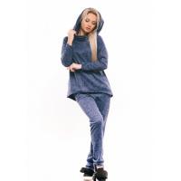 Трикотажный спортивный костюм-двойка ярко-синего цвета с хомутом