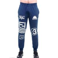 Синие мужские спортивные штаны с контрастными рисунками