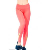 Розовые спортивные штаны из эластика с салатовыми элементами