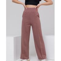 Коричневые широкие трикотажные брюки со стрелками