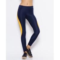 Синие спортивные штаны с горчичными вставками