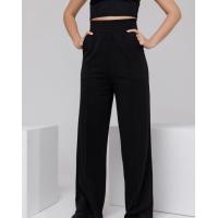 Черные широкие трикотажные брюки со стрелками