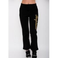 Черные утепленные спортивные штаны прямого кроя с декором из блесток
