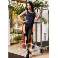 Спортивные штаны из эластика с крупными оранжевыми вставками