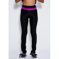 Черные эластичные спортивные штаны с фиолетовой вставкой на поясе