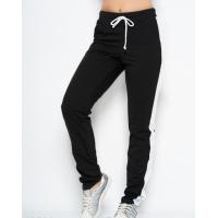 Черные трикотажные спортивные штаны с вставками