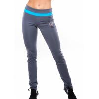 Эластичные спортивные брюки с широкой голубой полосой