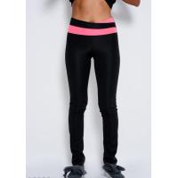 Черные эластичные спортивные штаны с розовой вставкой на поясе