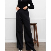 Черные утепленные флисом широкие штаны
