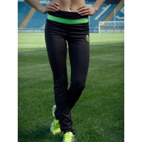 Черные спортивные брюки с широкой салатовой полосой
