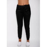 Черные тонкие спортивные штаны свободного кроя с тремя белыми полосками по бокам