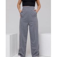 Серые широкие трикотажные брюки со стрелками