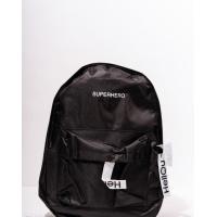 Черный ранец с принтованными нашивками