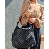 Черно-коричневая сумка из стеганой эко-кожи