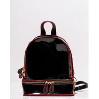 Черный блестящий каркасный рюкзак