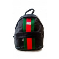 Черный комбинированный рюкзак из кожи и текстиля с цветными полосами впереди