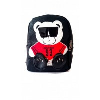 Черный рюкзачок с аппликацией-мишкой