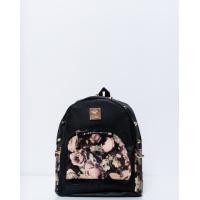 Черный рюкзак с шипами и цветочными вставками