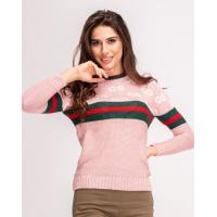 Шерстяной розовый свитер с лого и полосатыми вставками