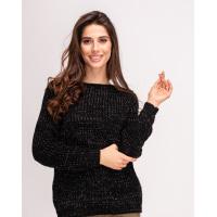 Черный свитер объемной вязки с люрексом