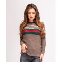 Шерстяной коричневый свитер с лого и полосатыми вставками