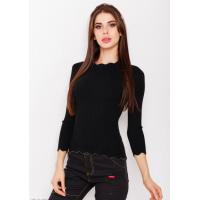 Черный ангоровый свитер в рубчик с фактурными волнистыми манжетами