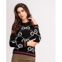 Черный шерстяной свитер с лого и цветными манжетами