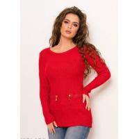 Красный ангоровый свитер с молнией на спине и карманами спереди
