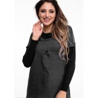 """Темно-серый комбинированный свитер с эффектом """"двойки"""""""