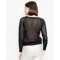Черный ажурный свитер с перфорацией
