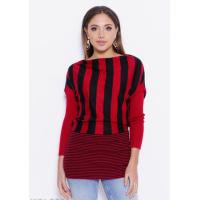 Черно-красный полосатый свитер с декором из страз