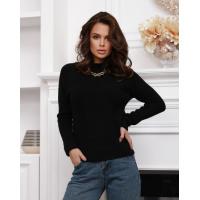 Черный шерстяной свитер фактурной вязки