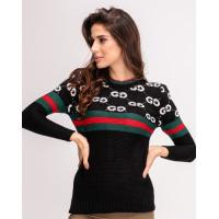 Черный свитер с лого и полосатыми вставками