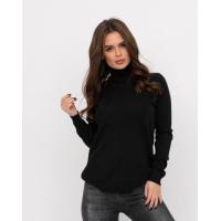 Черный теплый свитер с воротником-гольфом