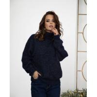Темно-синий меланжевый вязаный свитер с высоким горлом