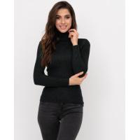 Черный фактурный вязаный свитер-гольф