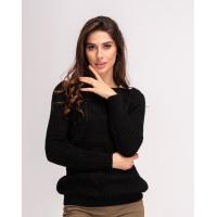 Черный шерстяной теплый свитер комбинированной вязки