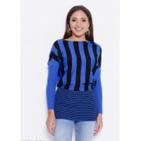 Черно-синий полосатый свитер с декором из страз